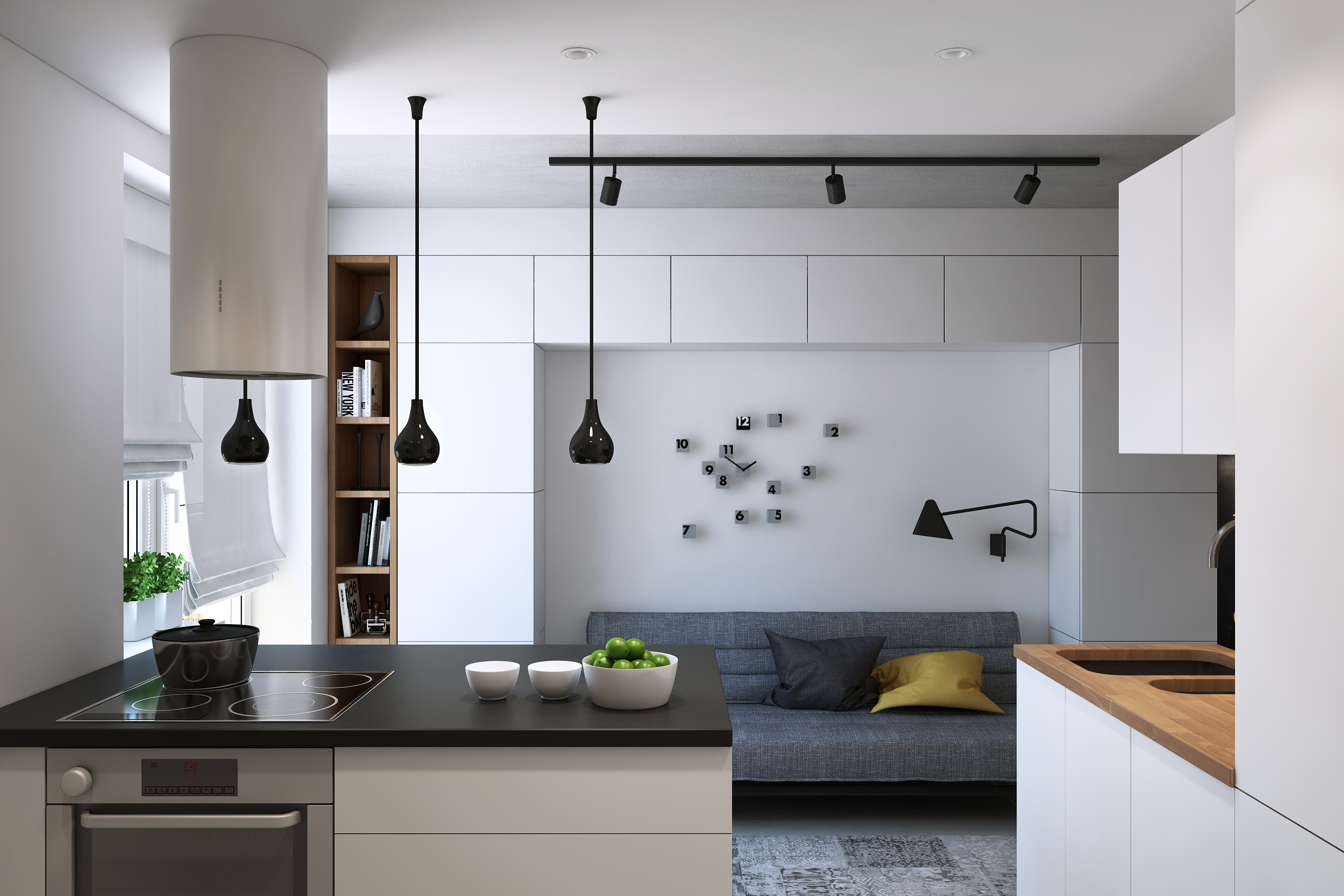 Small apartment design for a girl just3ds for Modern apartment kitchen design